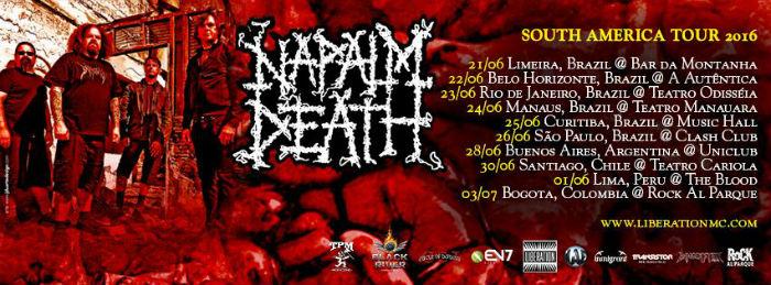 Napalm Death faz cinco shows no Brasil em Junho