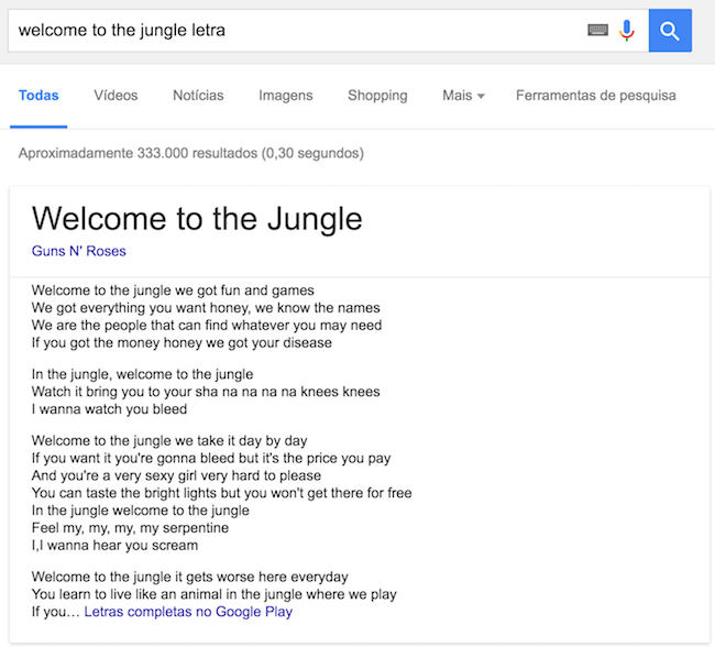"Letra de ""Welcome to the Jungle"" do Guns N' Roses pode ser lida direto no Google"
