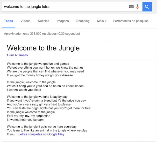 """Letra de """"Welcome to the Jungle"""" do Guns N' Roses pode ser lida direto no Google"""