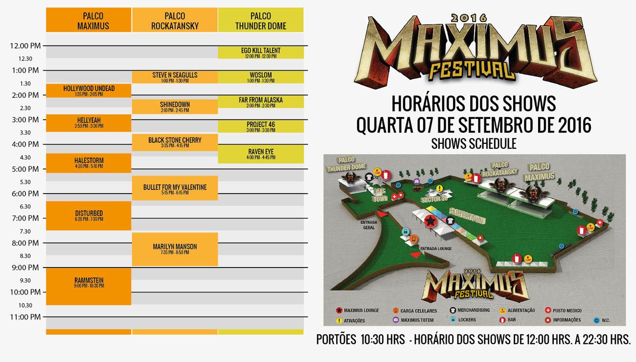 Horários e programação do Maximus Festival