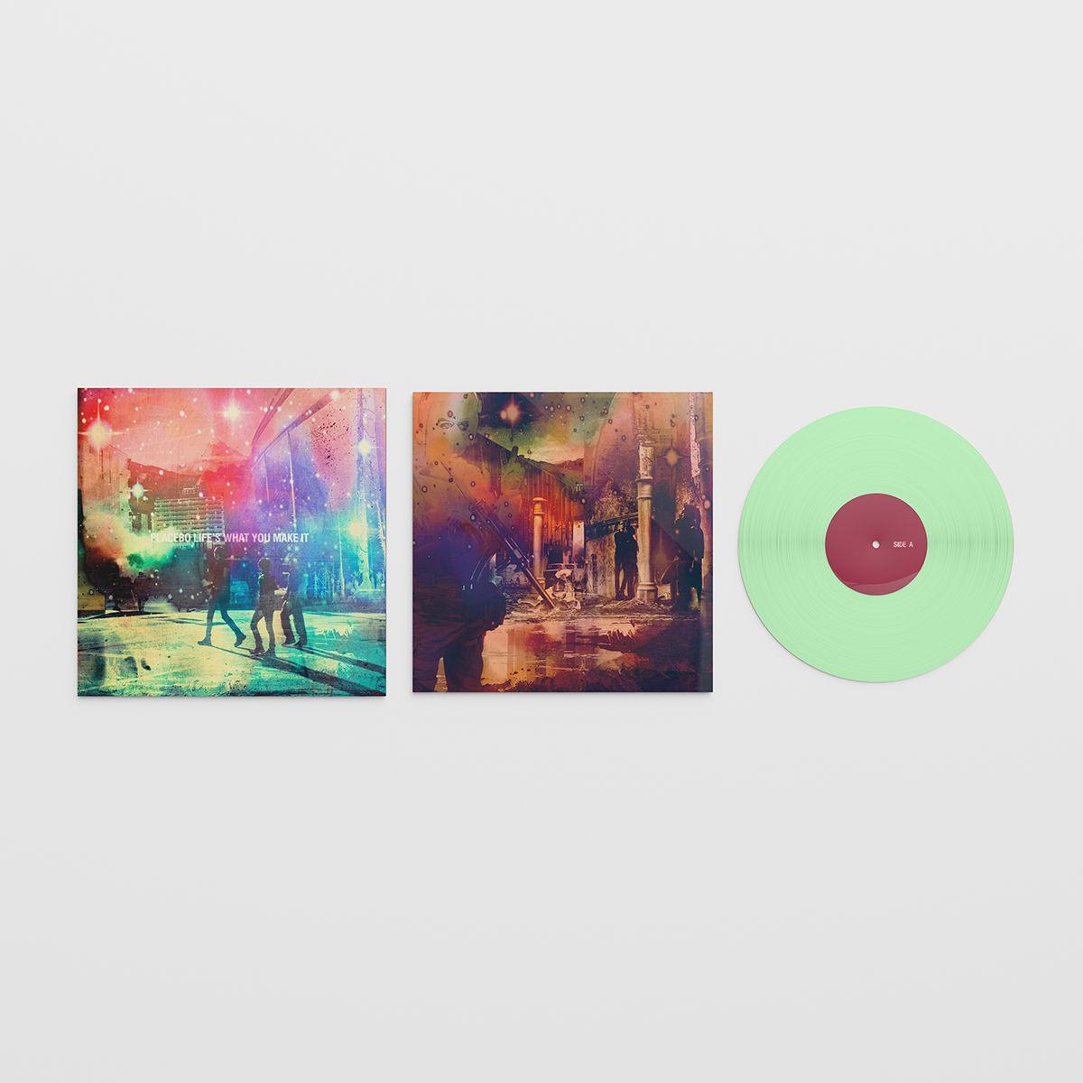"""versão em vinil verde do ep """"life's what you make it"""" do placebo"""
