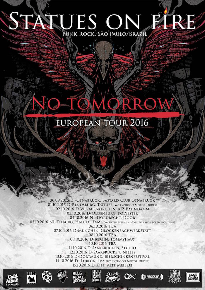 "Poster oficial da turnê europeia ""No Tomorrow"""