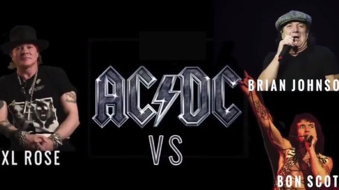 AC/DC com Axl Rose, Brian Johnson e Bon Scott
