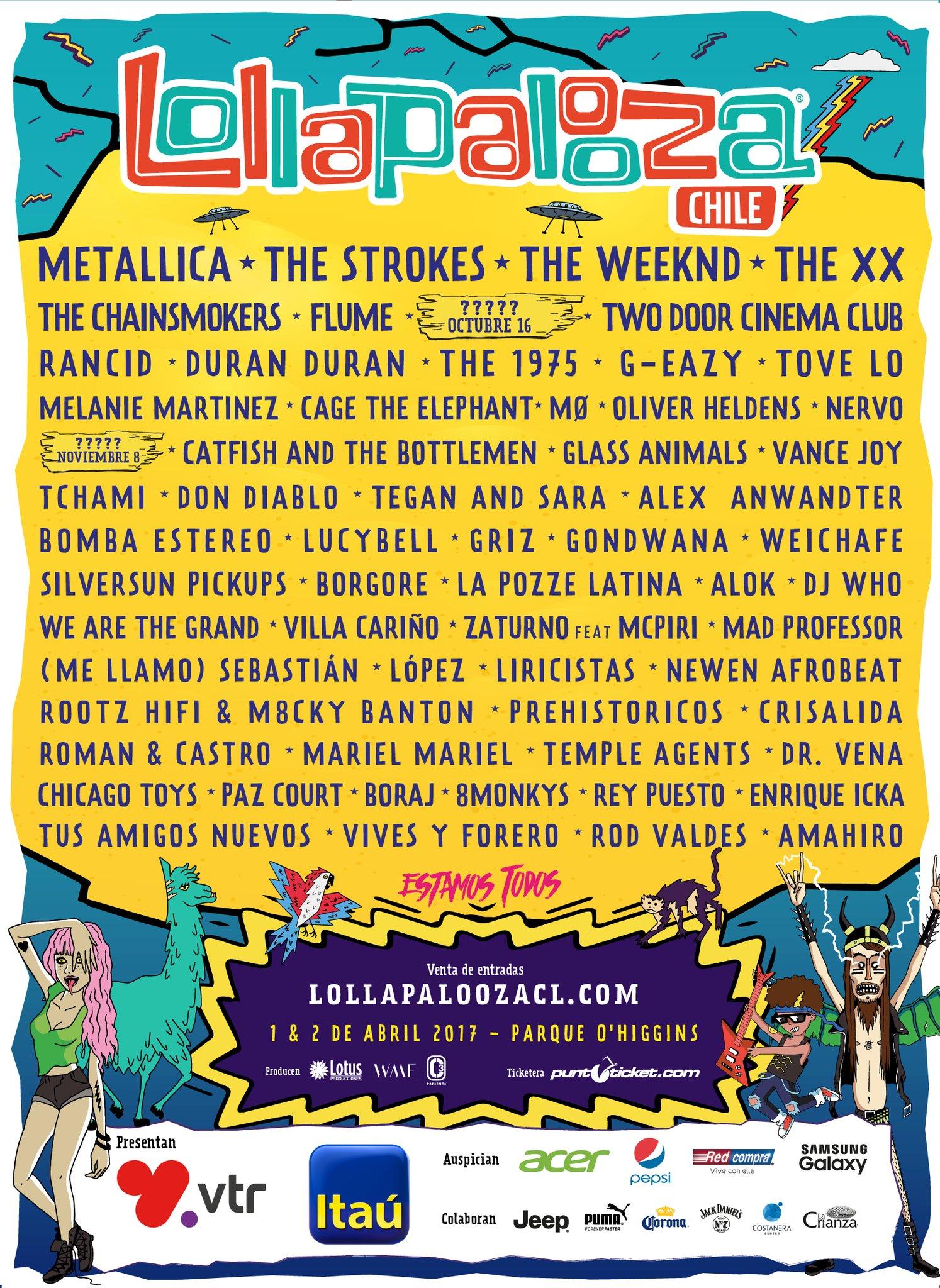 Line-up do Lollapalooza Chile 2017