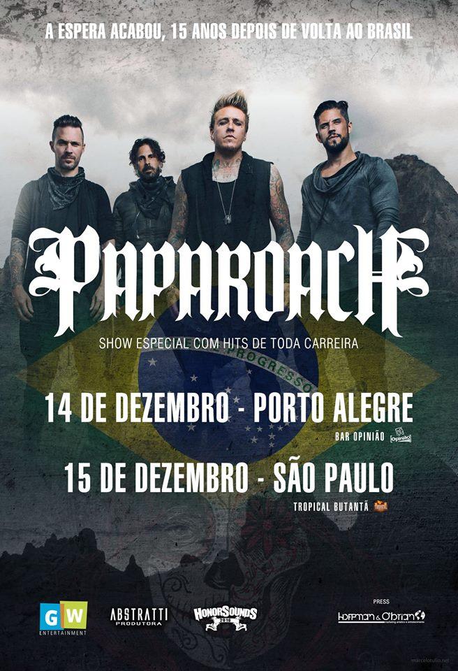 poster dos shows do papa roach no brasil