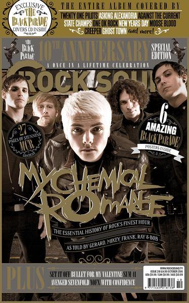 """capa da revista """"rock sound"""" especial sobre o disco """"the black parade"""" do my chemical romance"""