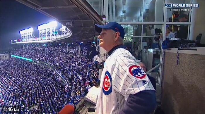 Bill Murray no estádio do Chicago Cubs