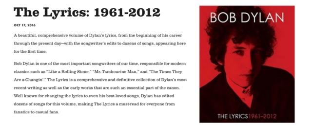 Site de Bob Dylan sem menção ao Prêmio Nobel
