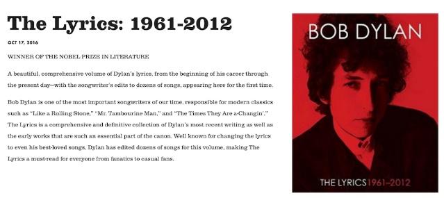 Site de Bob Dylan com menção ao Prêmio Nobel