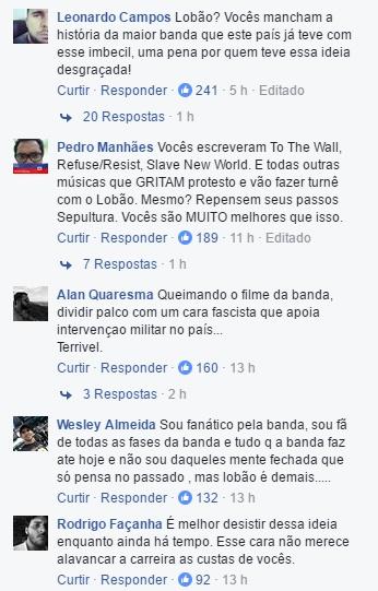 Comentários de fãs do Sepultura