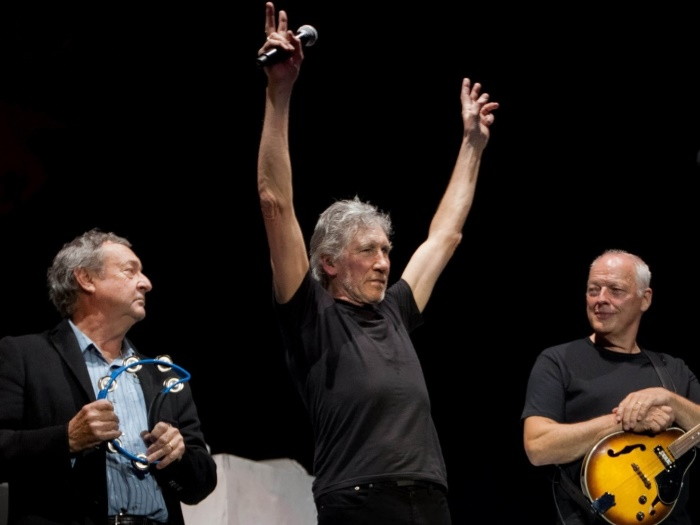 David Gilmour, Nick Mason e Roger Waters, do Pink Floyd