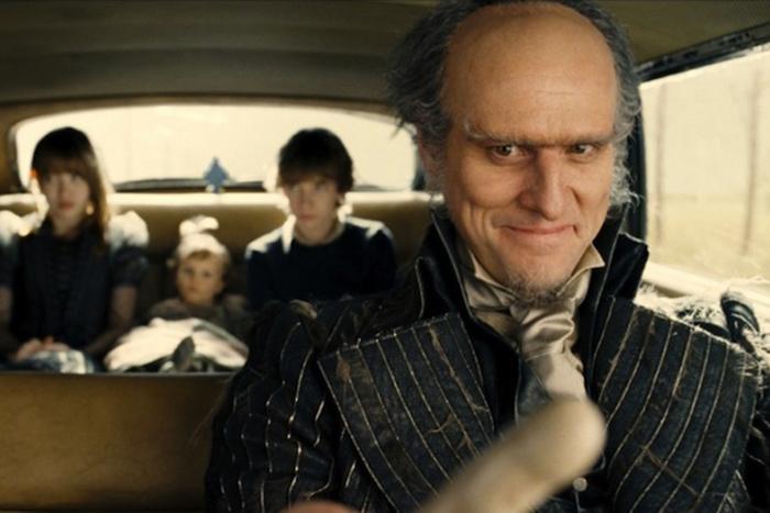 Jim Carrey no papel de Conde Olaf no filme lançado em 2004