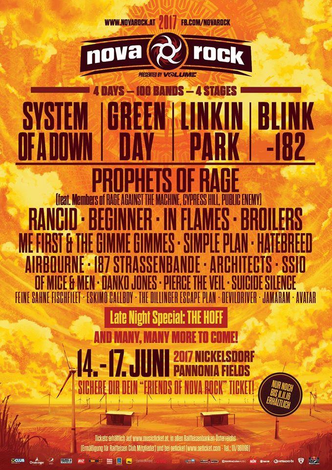 Line-up parcial do festival Nova Rock