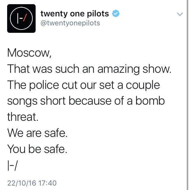 Twenty One Pilots publica tweet sobre bomba