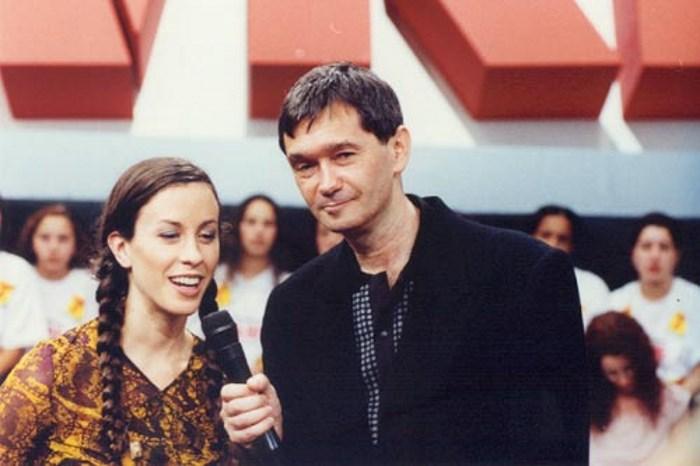 Serginho Groisman e Alanis Morissette no Programa Livre