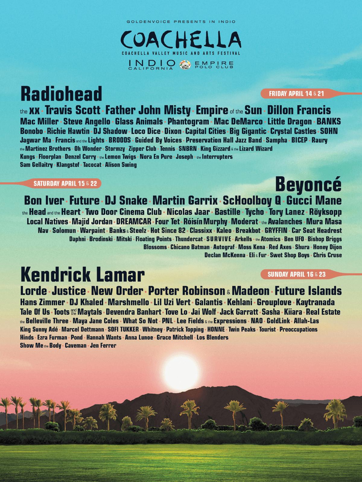 Line-up do Coachella 2017