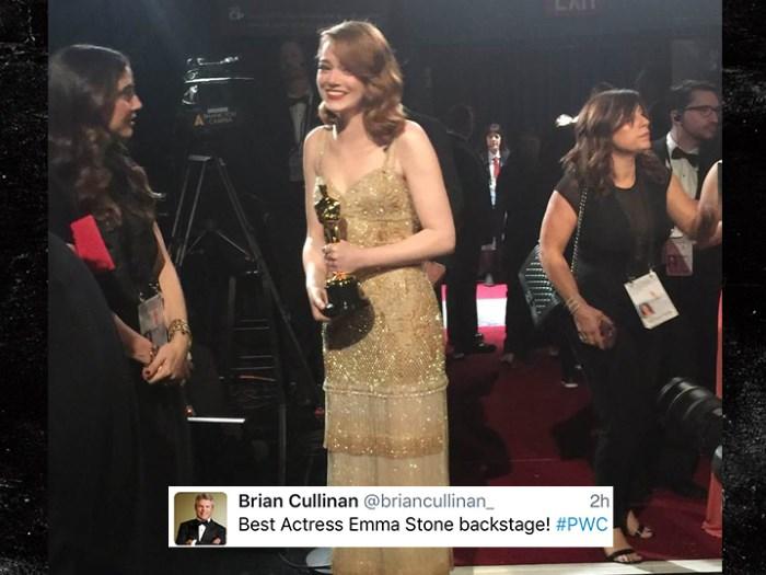 Tweet de Brian Cullinan sobre Emma Stone no Oscar