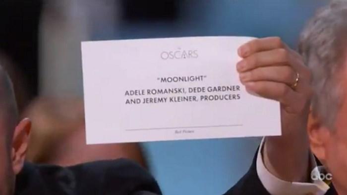 Envelope que mostra Moonlight como Melhor Filme