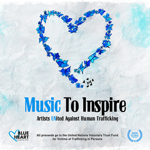 "capa do álbum beneficente ""music to inspire: artists united against human trafficking"""
