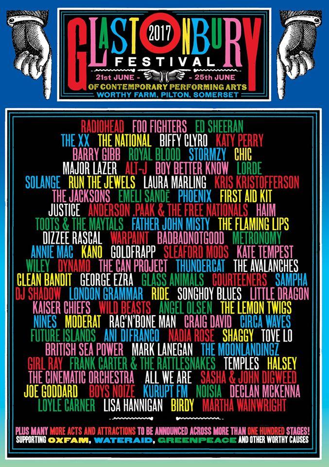 Cartaz do festival de Glastonbury 2017