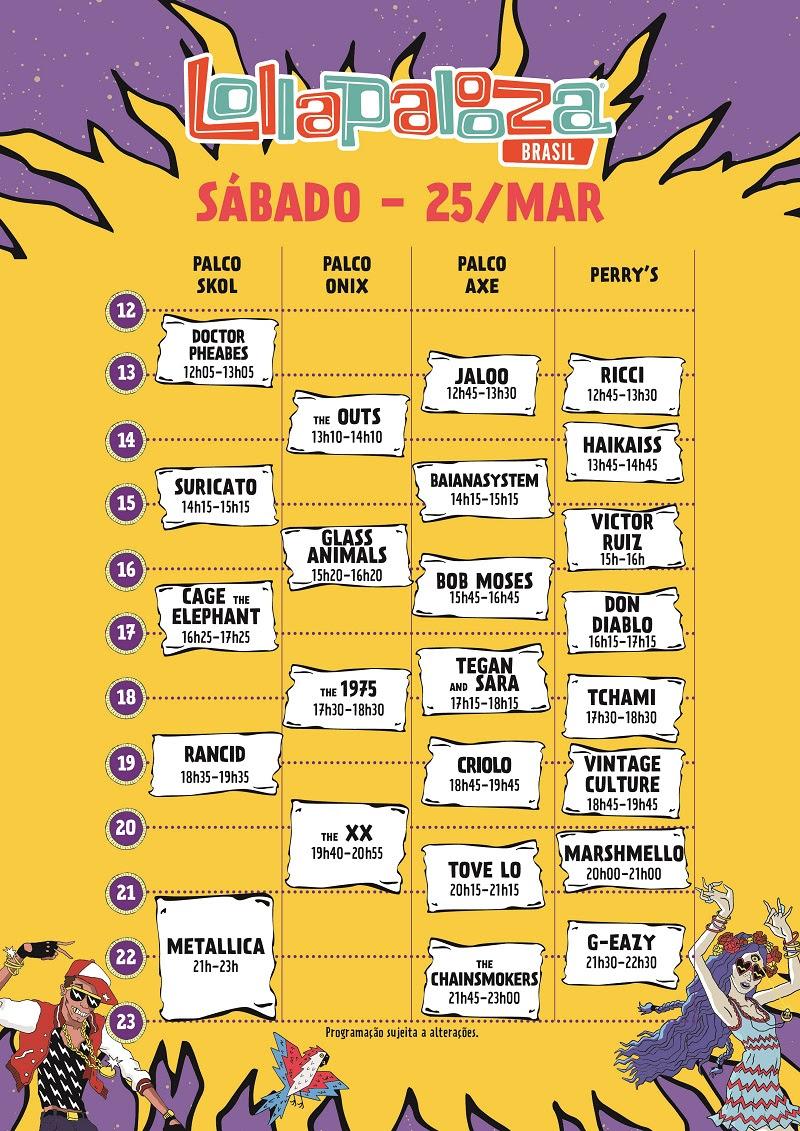 Horários do Lollapalooza Brasil 2017 (Sábado)