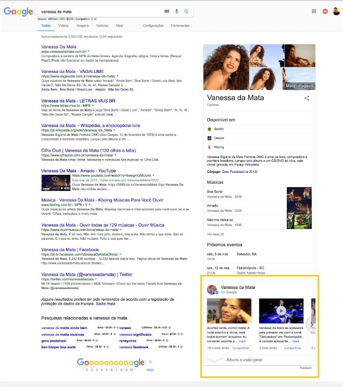 Vanessa da Mata Google Posts Desktop