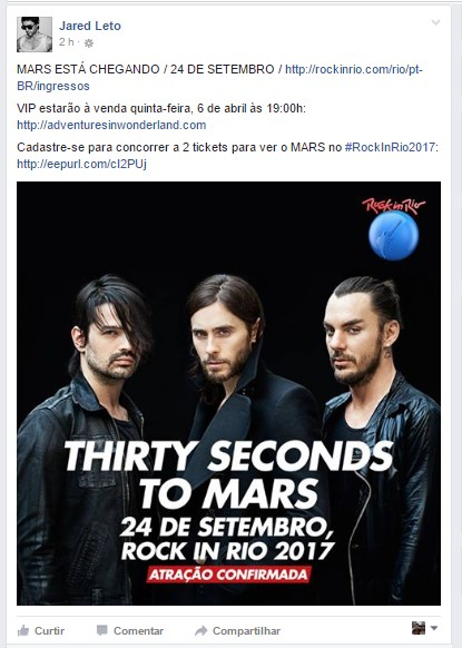 Thirty Seconds To Mars no Rock In Rio