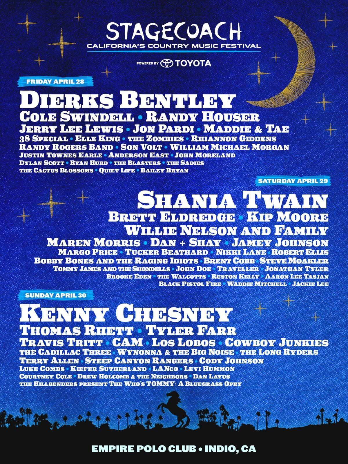 Line-up do festival Stagecoach 2017