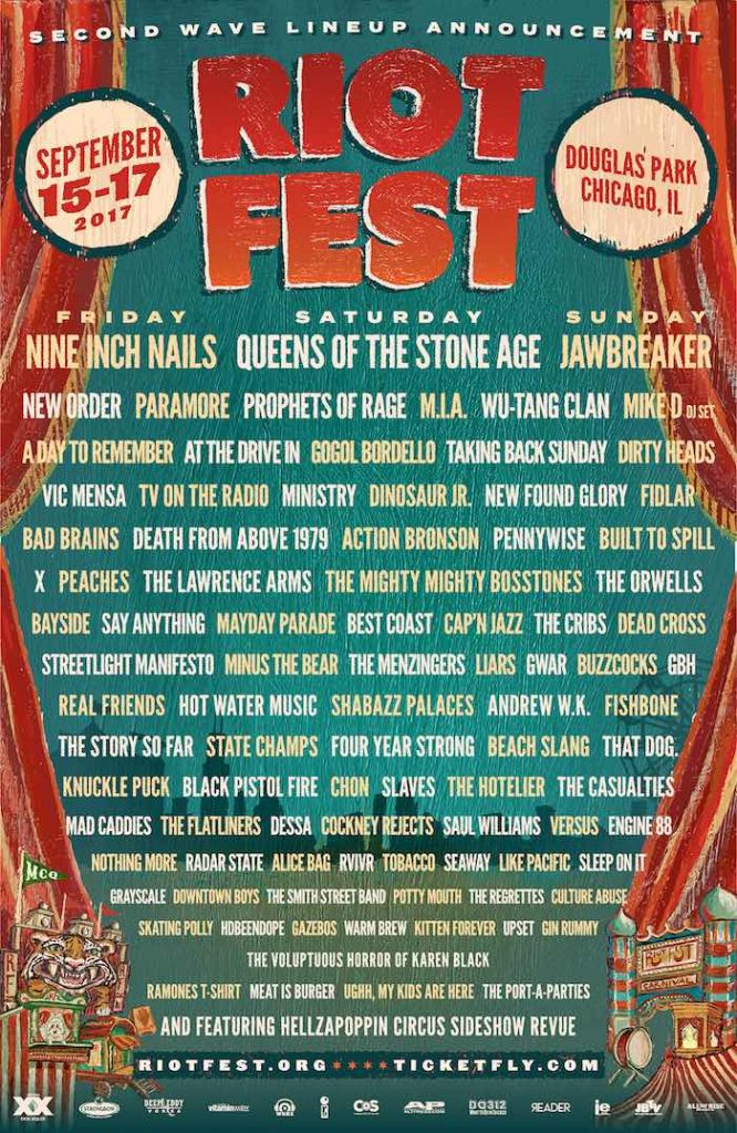 Riot Fest 2017 - Lineup Completo