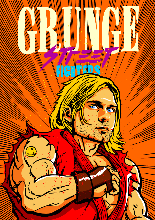 Kurt Cobain como Ken (Street Fighter)