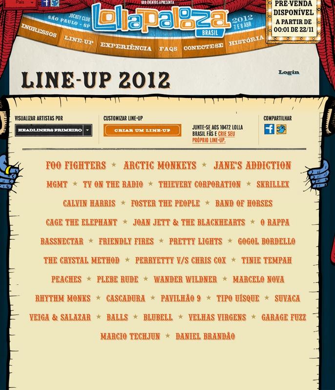 Resultado de imagem para lineup lollapalooza brasil 2012