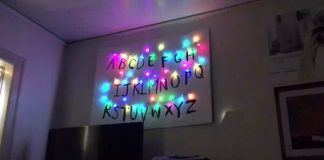 Luzes de Stranger Things na parede