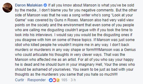 Comentário de Daron Malakian sobre Charles Manson