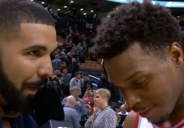 Drake em quadra com o Toronto Raptors