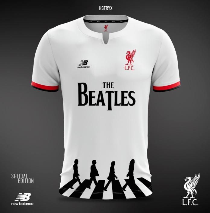 Camiseta do Liverpool em homenagem aos Beatles