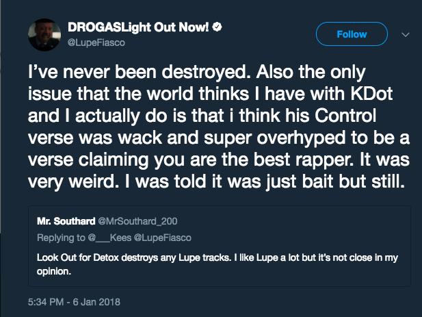 Lupe Fiasco critica Kendrick Lamar no Twitter