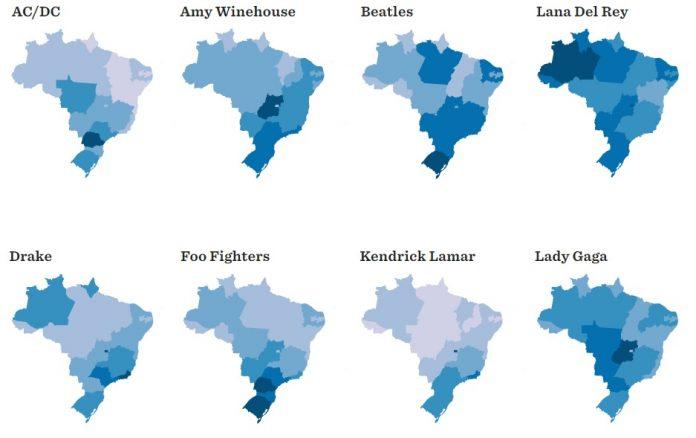 Artistas internacionais e seus estados mais influêntes