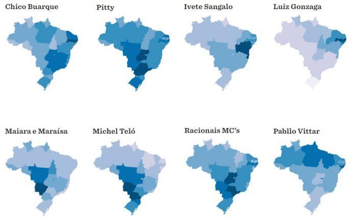 Artistas nacionais e seus estados mais influêntes