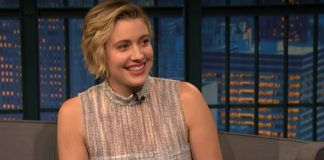 Greta Gerwig no Late Night With Seth Meyers