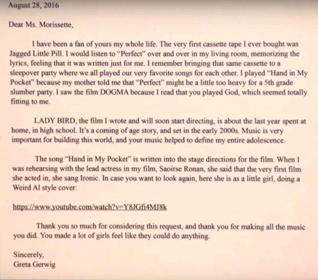 Carta de Greta Gerwig para Alanis Morissette