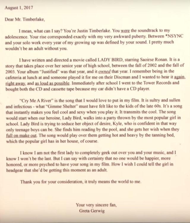 Carta de Greta Gerwig para Justin Timberlake