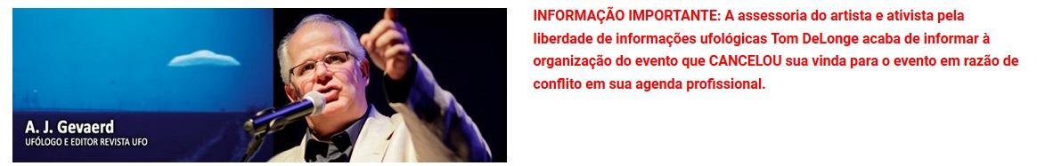 Tom DeLonge cancelado em Congresso Brasileiro de Ufologia