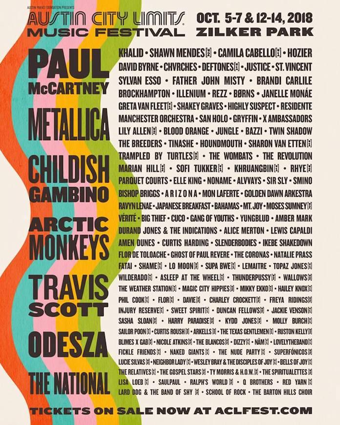 ACL Fest 2018 - lineup (Austin City Limits)