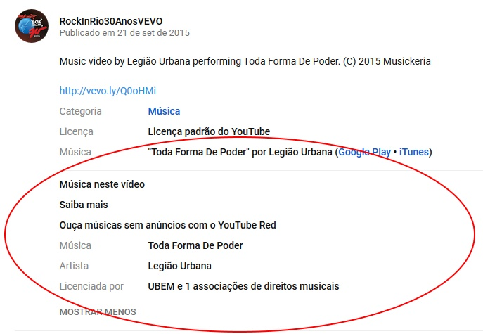 Créditos no YouTube