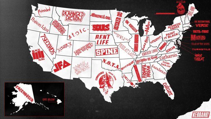 Mapa do Hardcore nos Estados Unidos