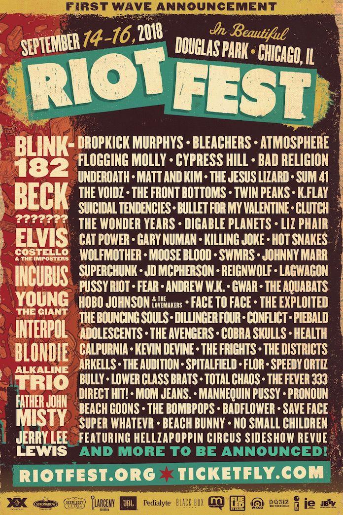 Riot Fest Poster Lineup 2018