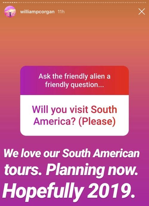 Billy Corgan fala sobre a América do Sul no Instagram
