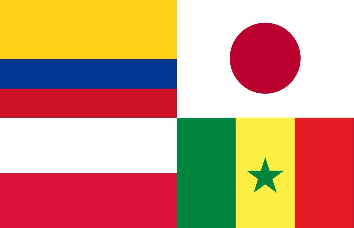 Países do Grupo H - Copa do Mundo 2018