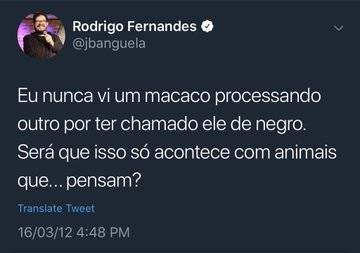 Mais um tweet racista do Jacaré Banguela