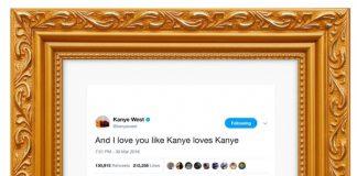 Tweet de Kanye West emoldurado